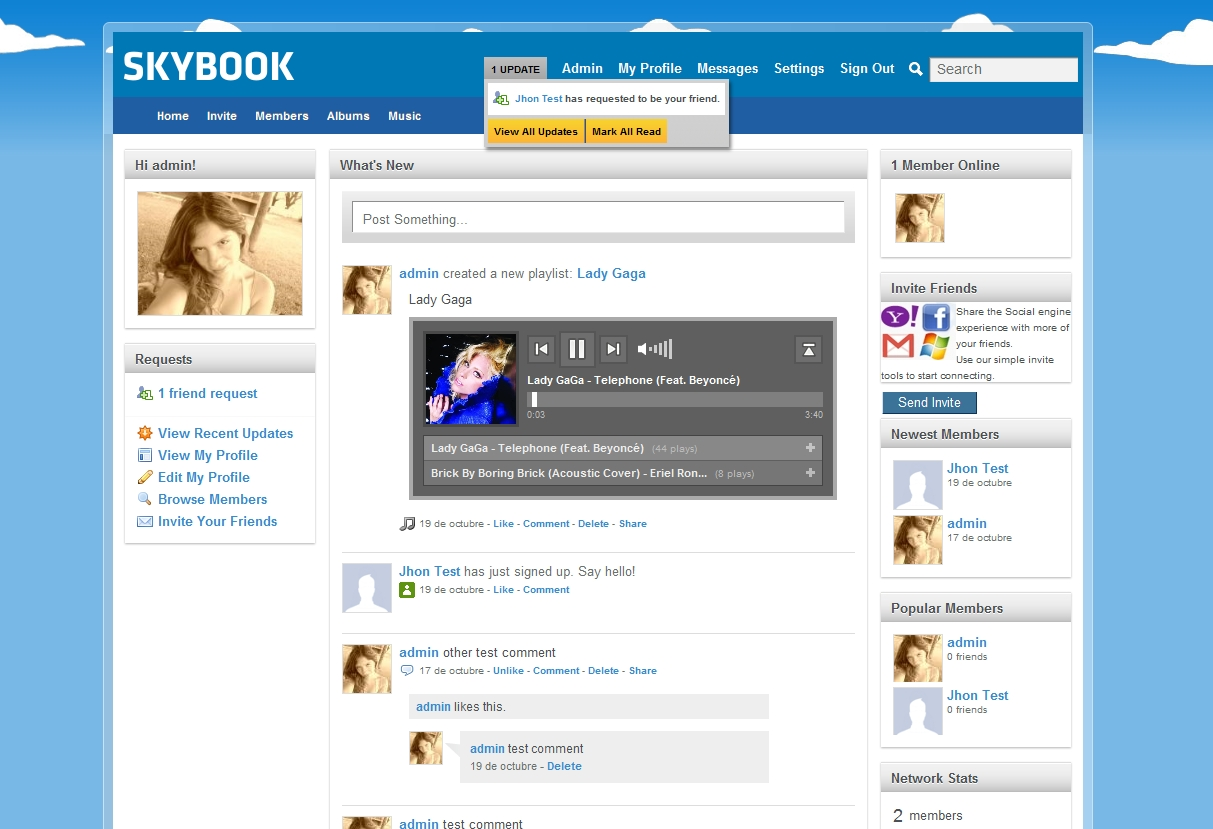 Skybook theme social engine 4 templates social engine forum posted image pronofoot35fo Image collections